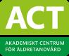Ljusgrön ruta med förkortningen ACT, därunder en mörkare grön mindre ruta med texten Akademiskt centrum för äldretandvård